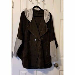 New Free People Hooded Cape Style Jacket Size XS/S